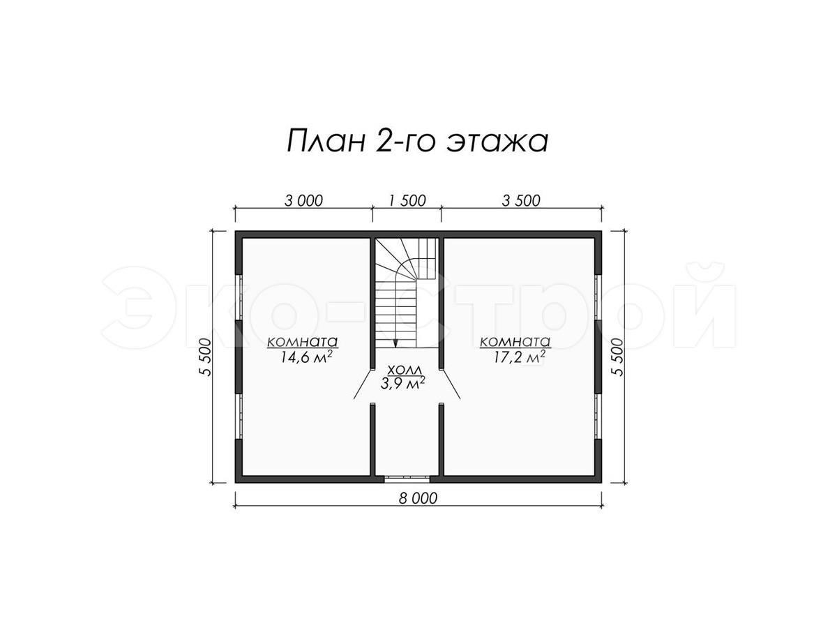 Дом из бруса ДУ 048 план 2 эт
