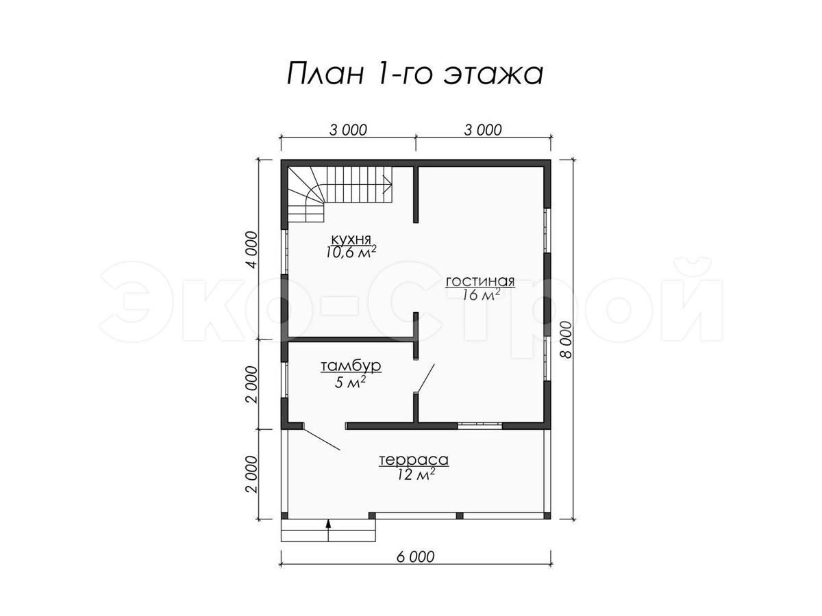 Дом из бруса ДУ 049 план 1 эт