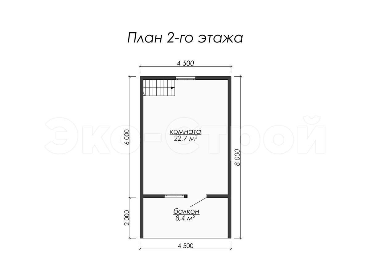 Дом из бруса ДУ 049 план 2 эт