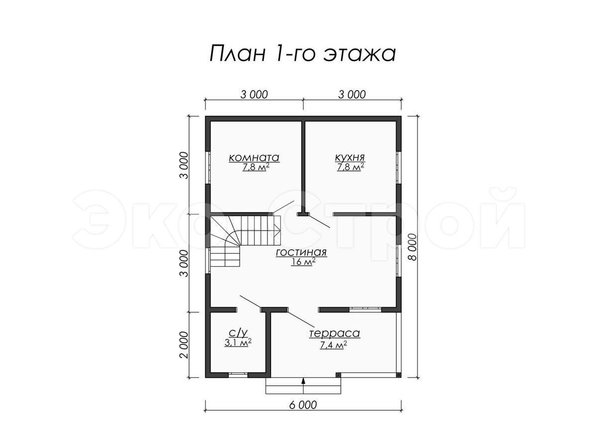 Дом из бруса ДУ 050 план 1 эт