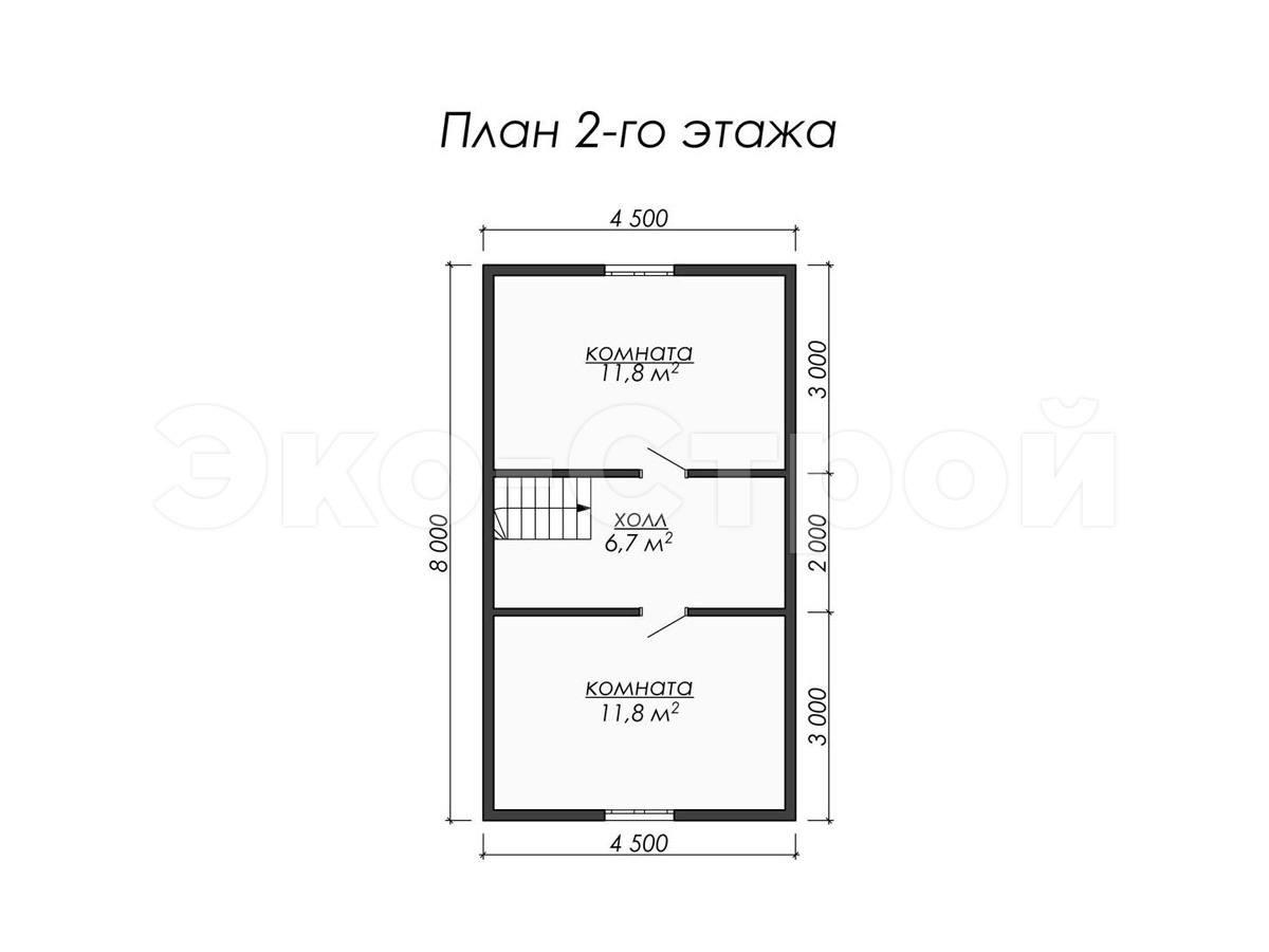 Дом из бруса ДУ 050 план 2 эт