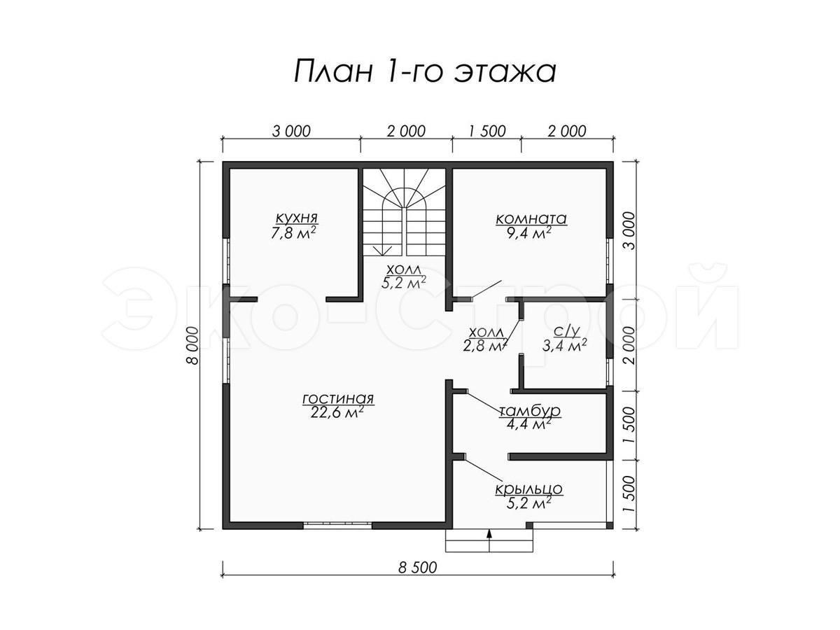 Дом из бруса ДУ 051 план 1 эт