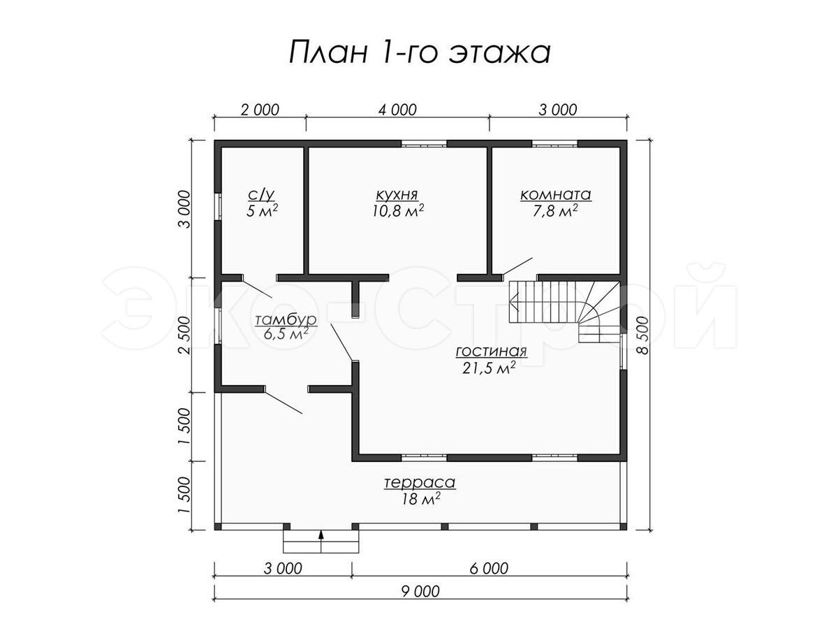 Дом из бруса ДУ 053 план 1 эт