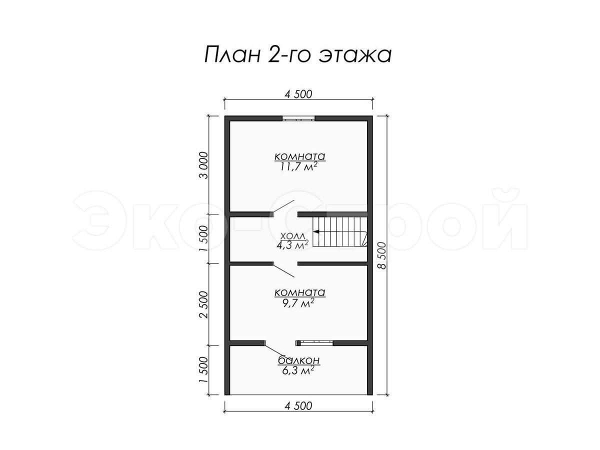 Дом из бруса ДУ 053 план 2 эт