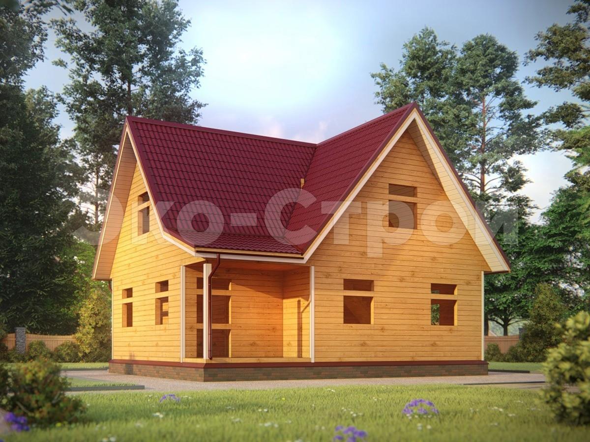 Дом из бруса ДУ 054 под усадку вид 2