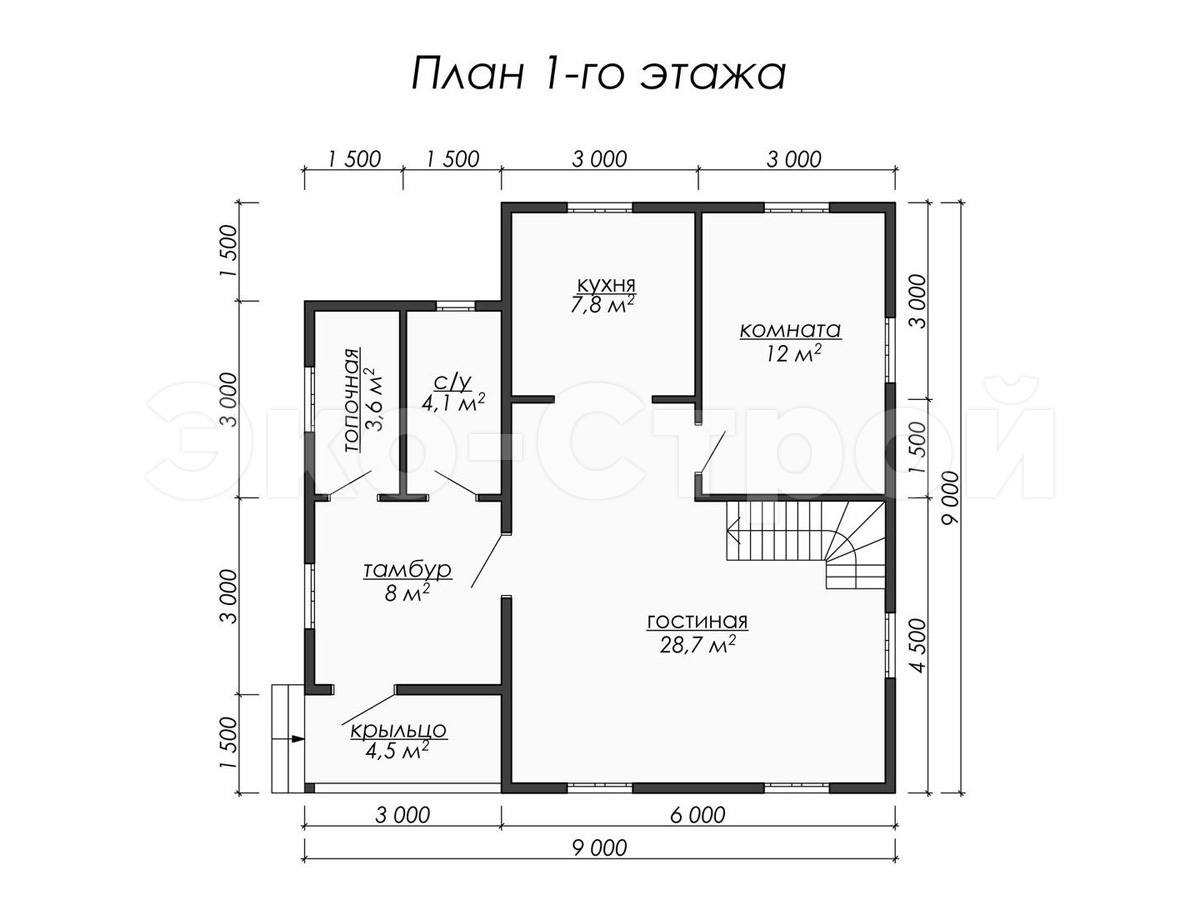Дом из бруса ДУ 054 план 1 эт