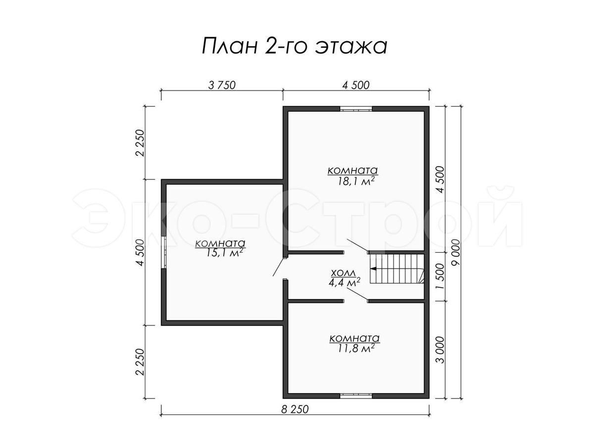Дом из бруса ДУ 054 план 2 эт