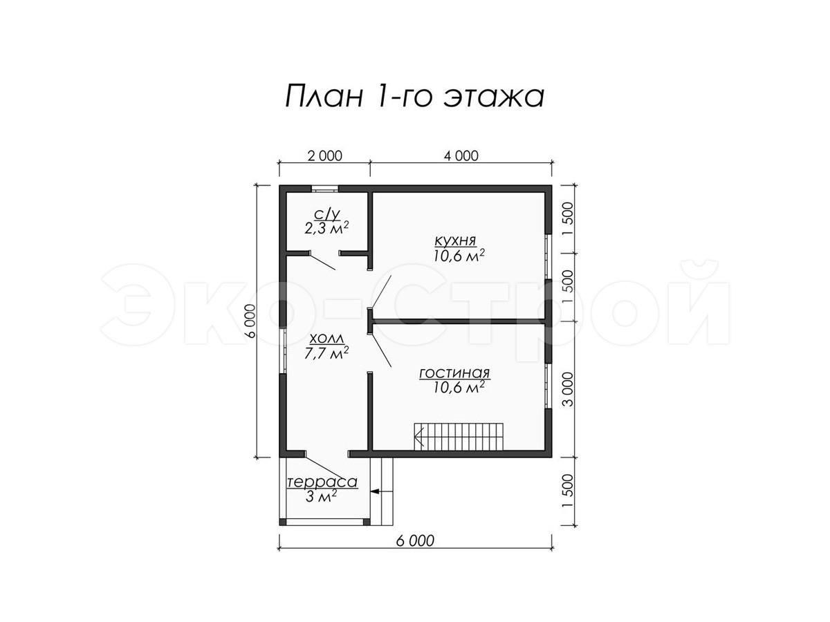 Дом из бруса ДУ 056 план 1 эт