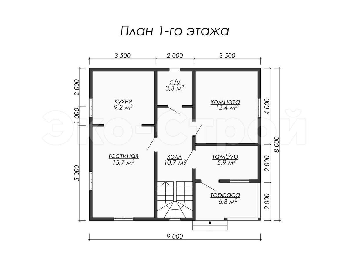 Дом из бруса ДУ 057 план 1 эт