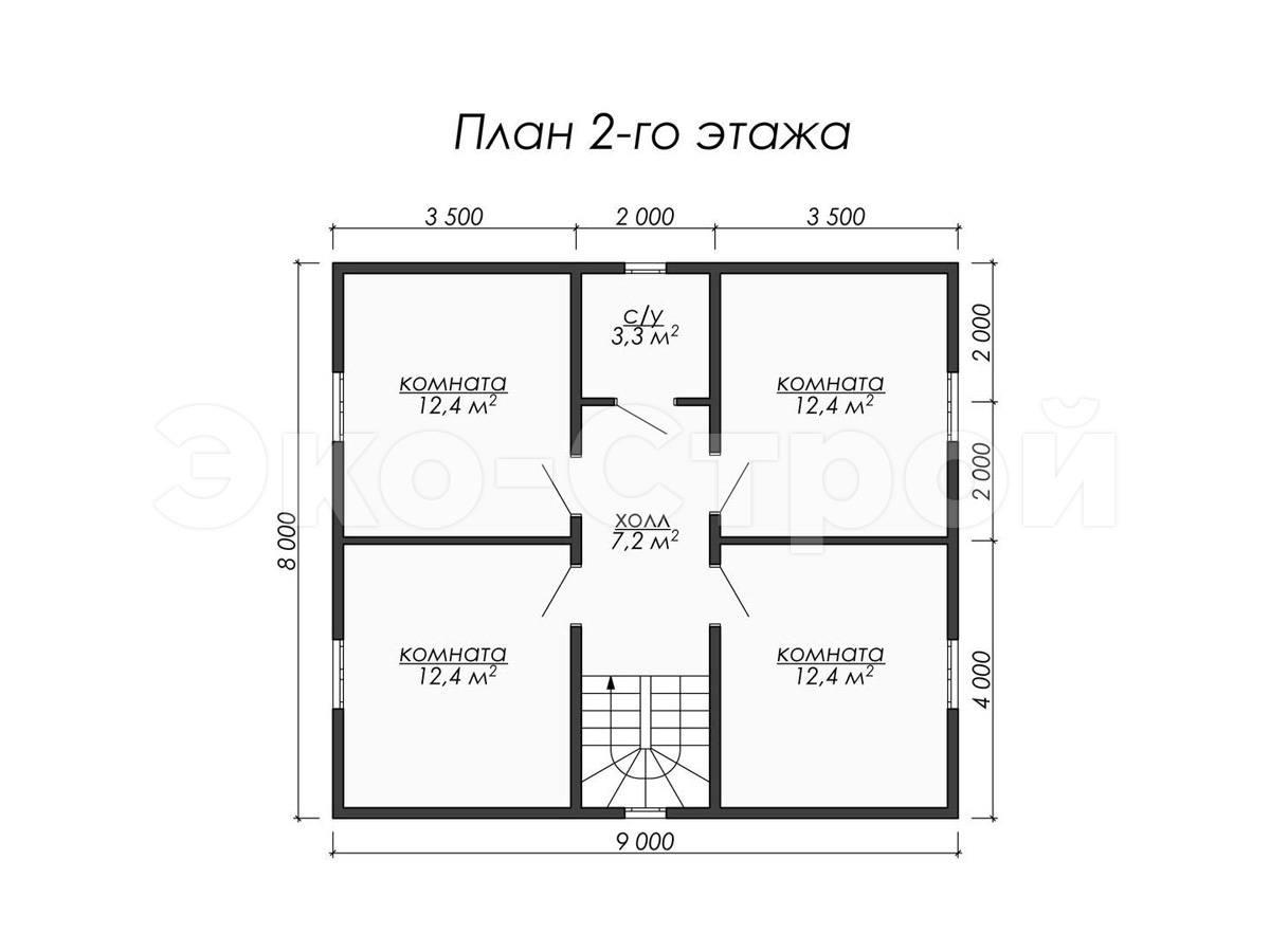 Дом из бруса ДУ 057 план 2 эт
