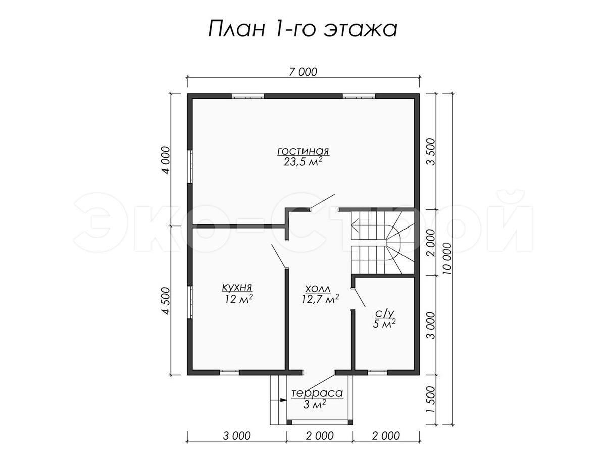 Дом из бруса ДУ 058 план 1 эт