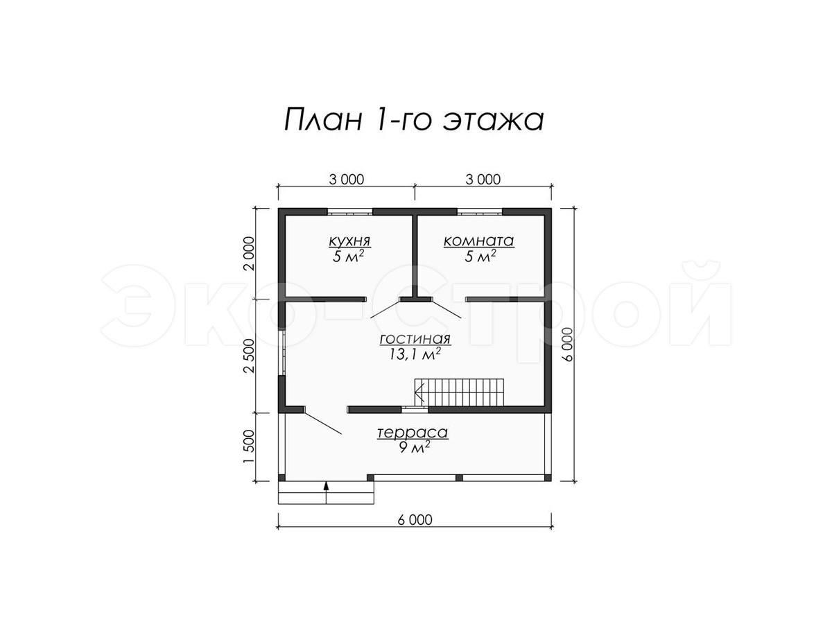 Дом из бруса ДУ 059 план 1 эт