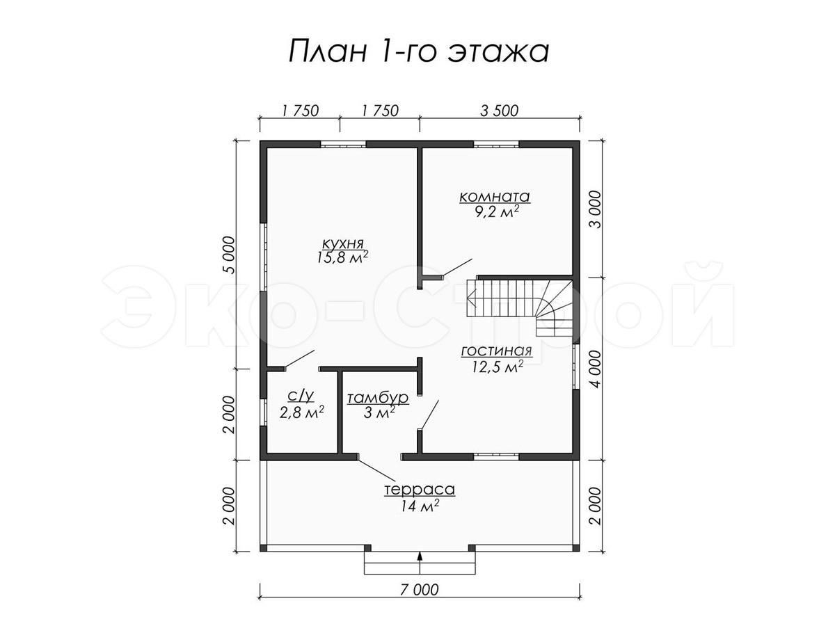 Дом из бруса ДУ 060 план 1 эт