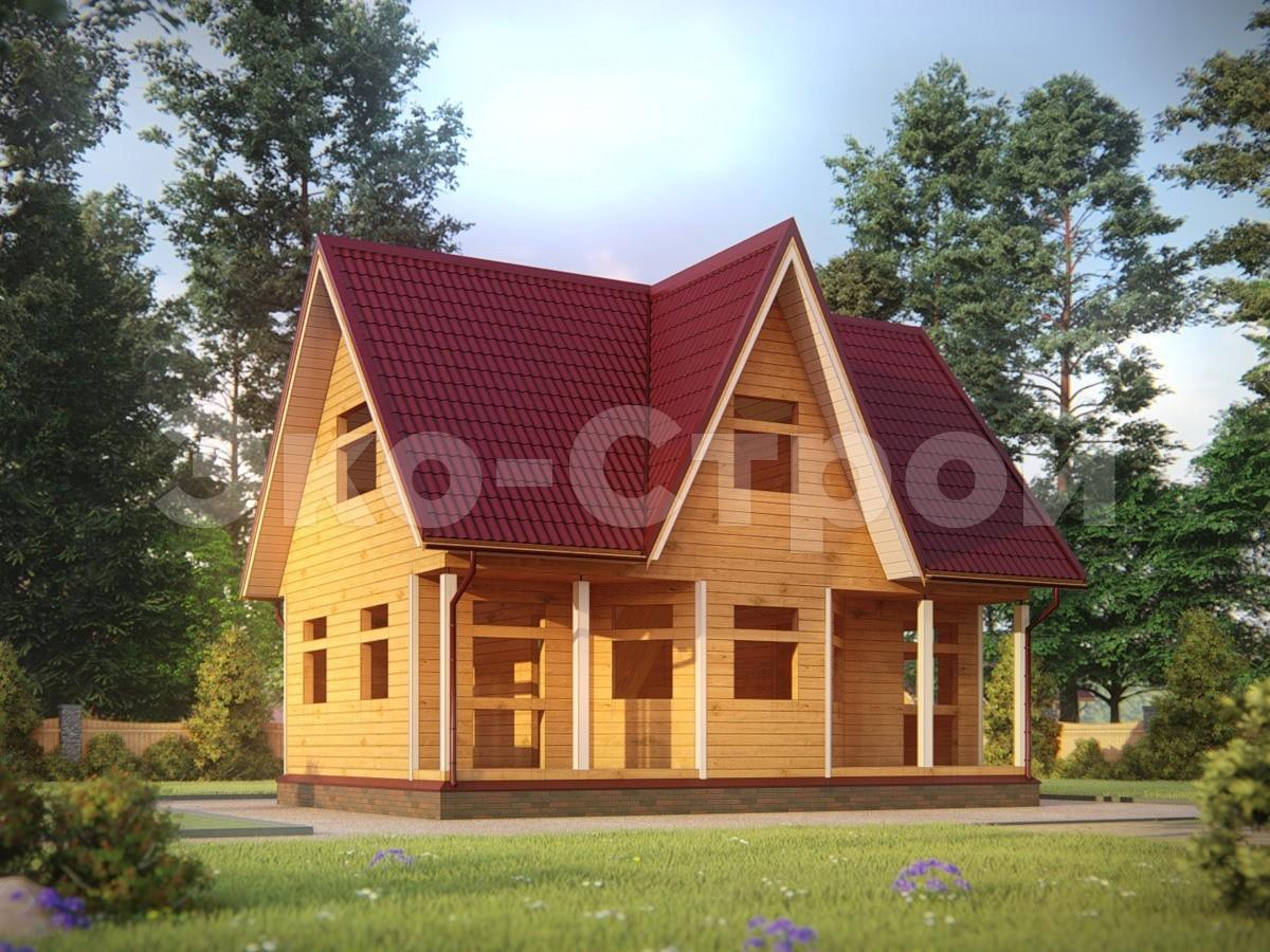 Дом из бруса ДУ 061 под усадку вид 2