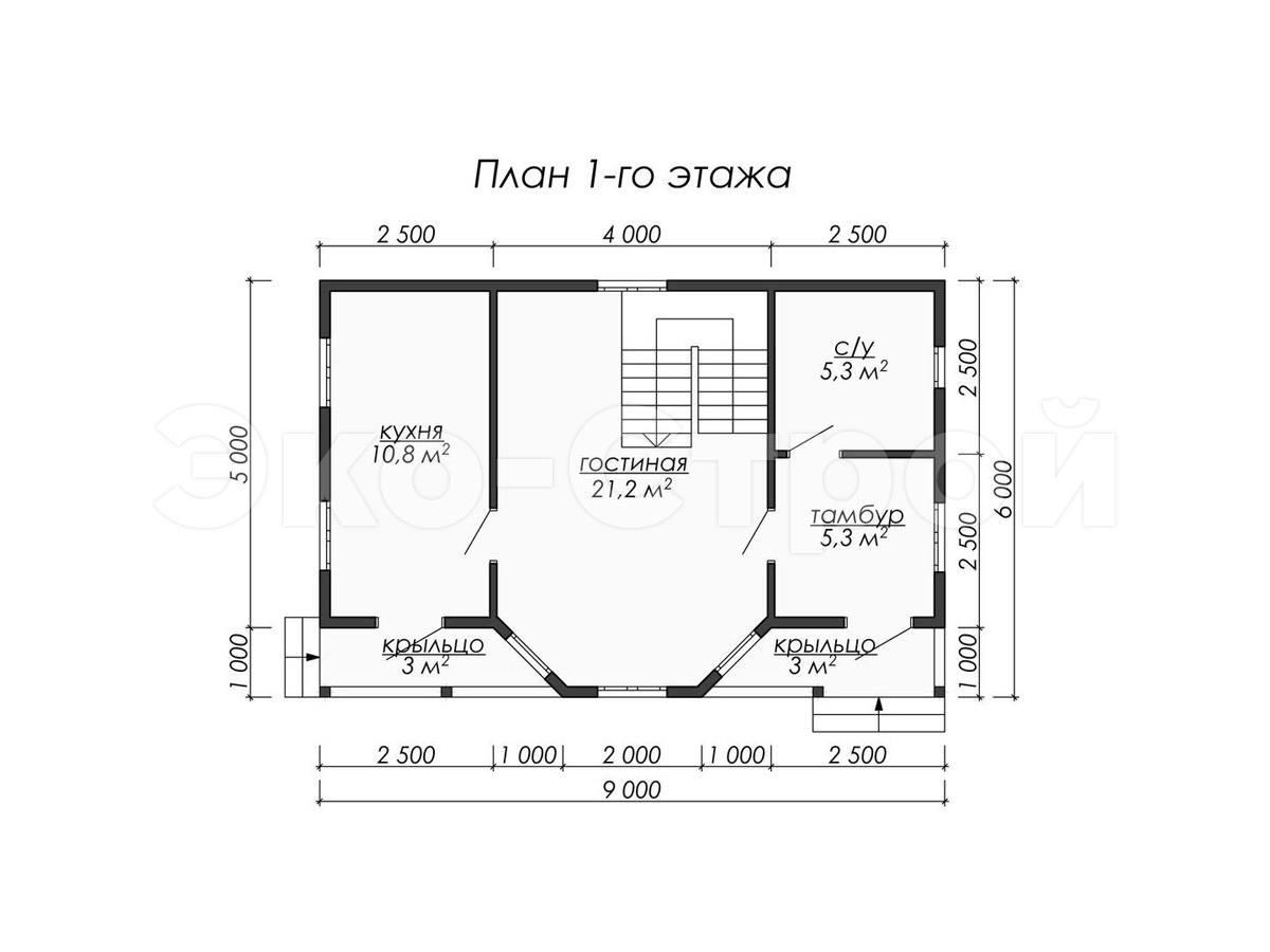 Дом из бруса ДУ 061 план 1 эт