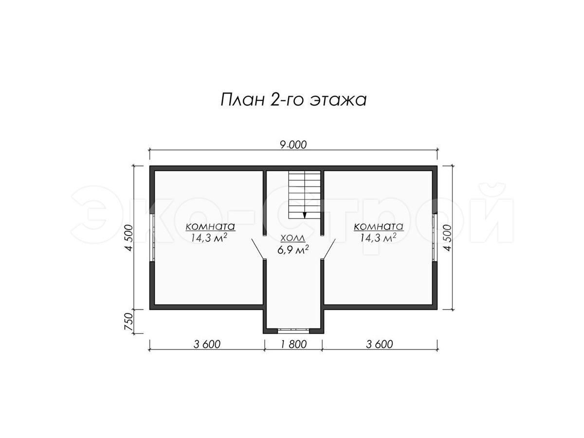 Дом из бруса ДУ 061 план 2 эт