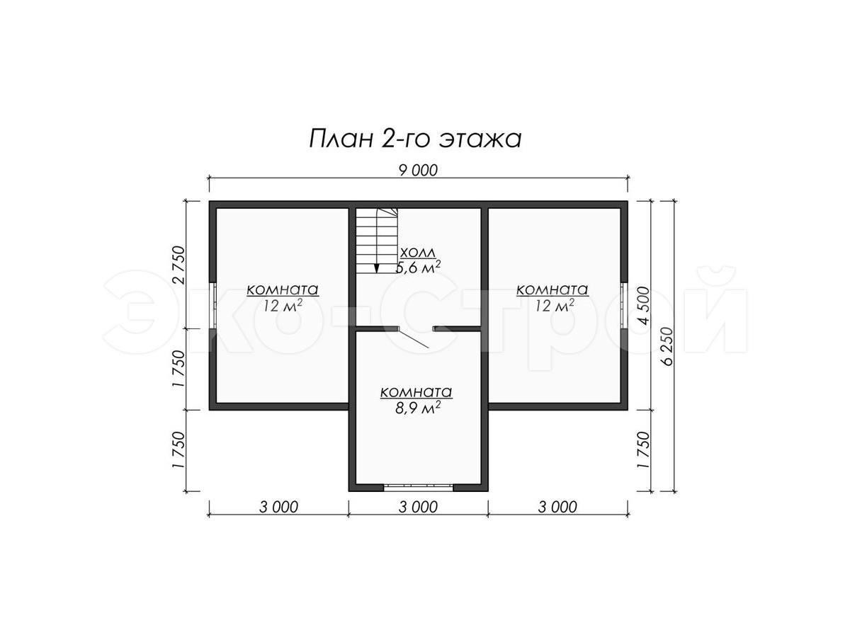 Дом из бруса ДУ 062 план 2 эт