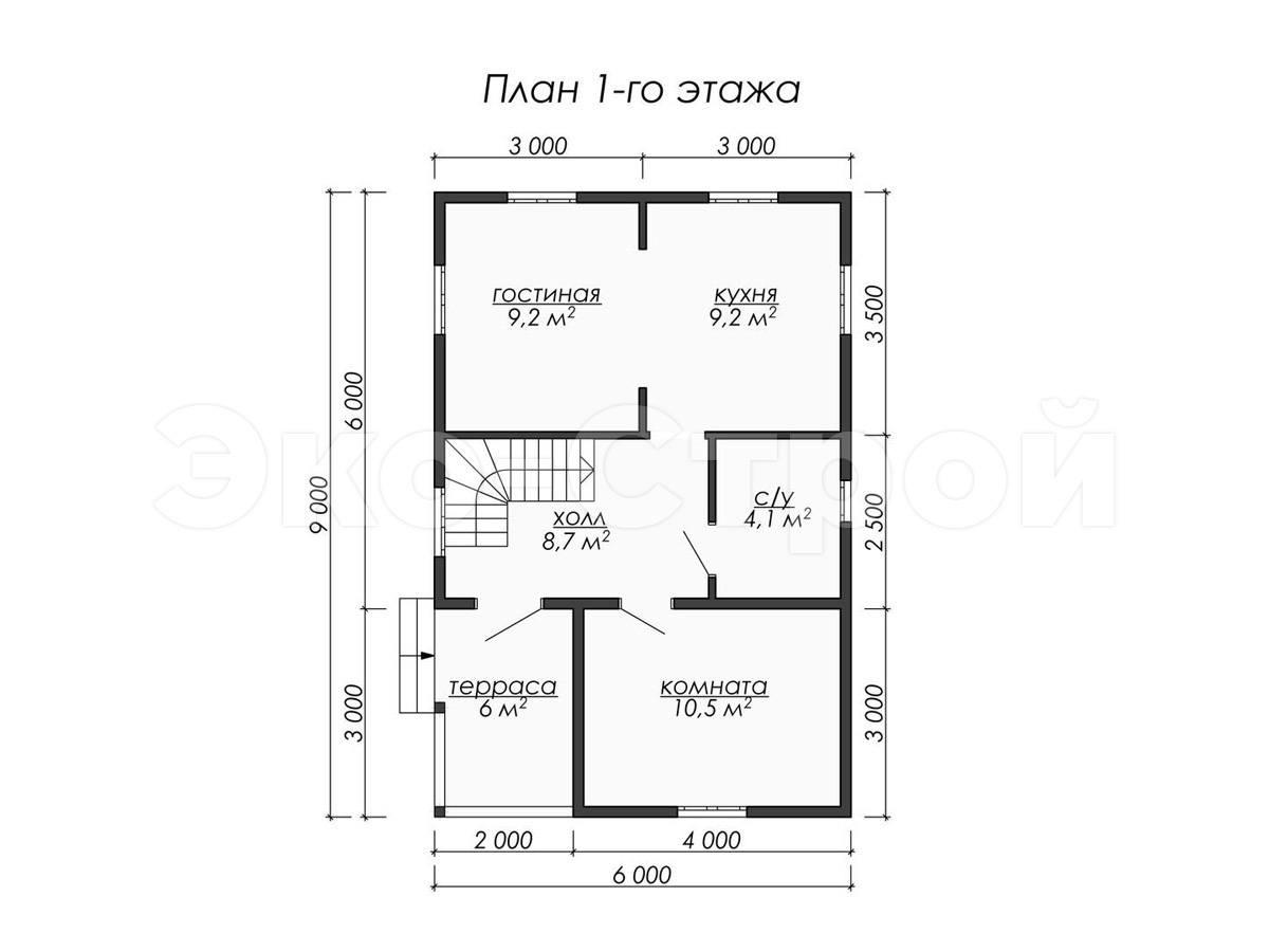 Дом из бруса ДУ 063 план 1 эт