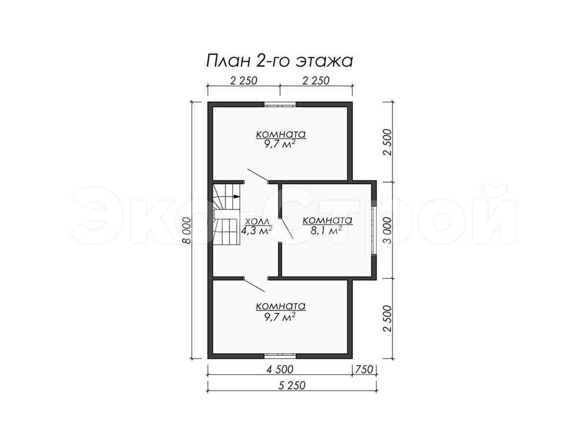 Дом из бруса ДУ 064 план 2 эт