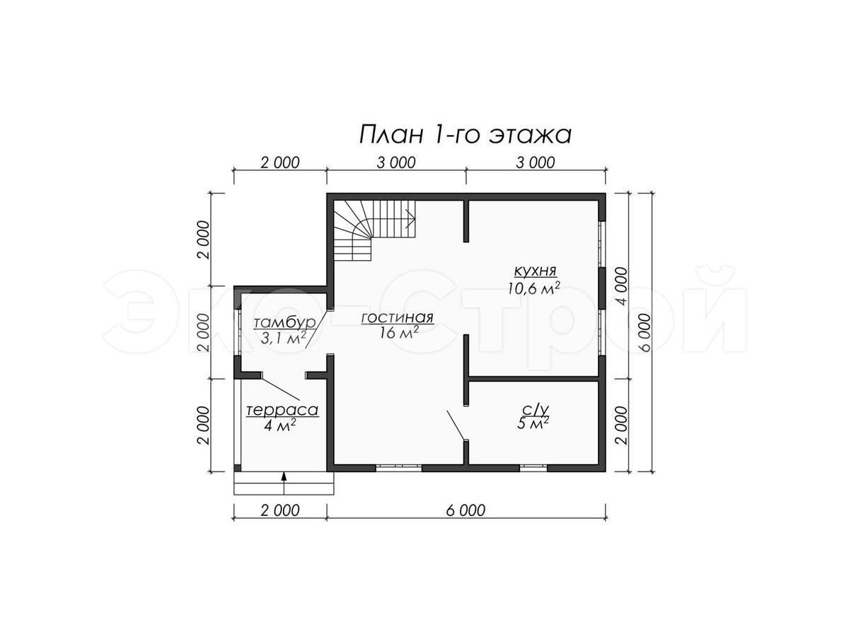 Дом из бруса ДУ 065 план 2 эт