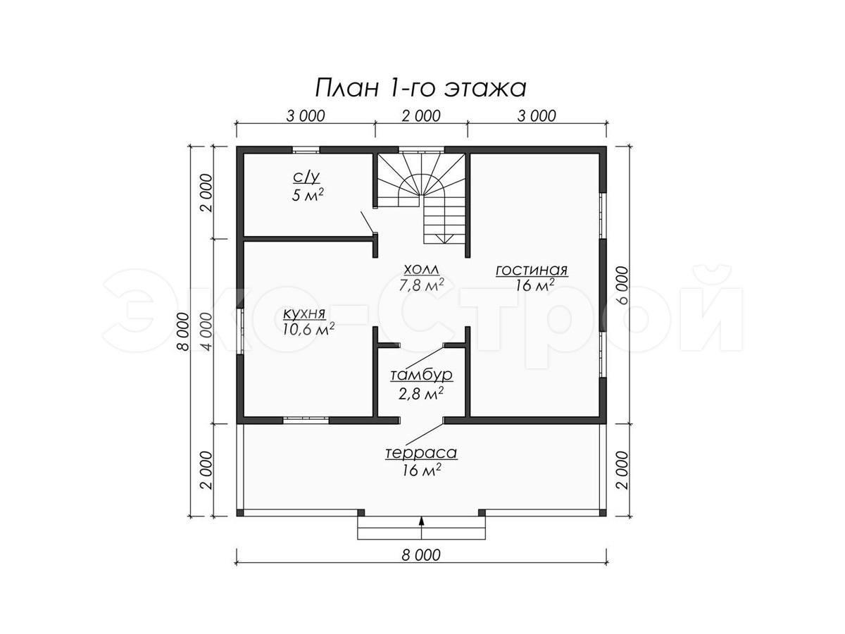 Дом из бруса ДУ 066 план 1 эт