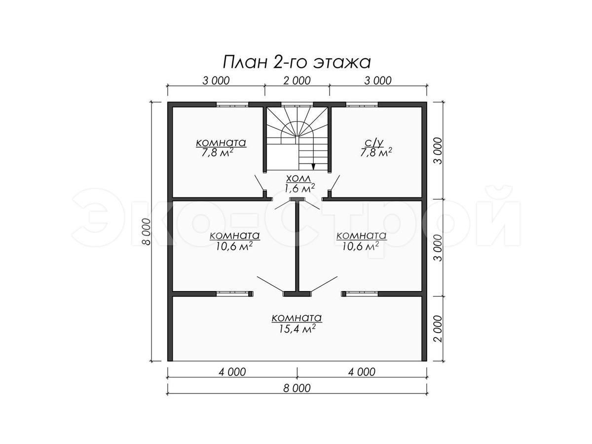 Дом из бруса ДУ 066 план 2 эт