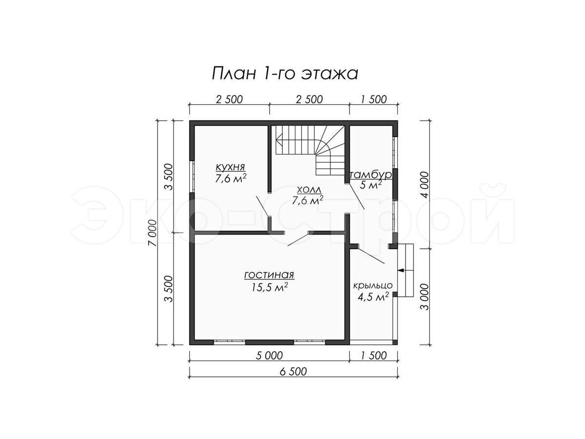 Дом из бруса ДУ 067 план 1 эт