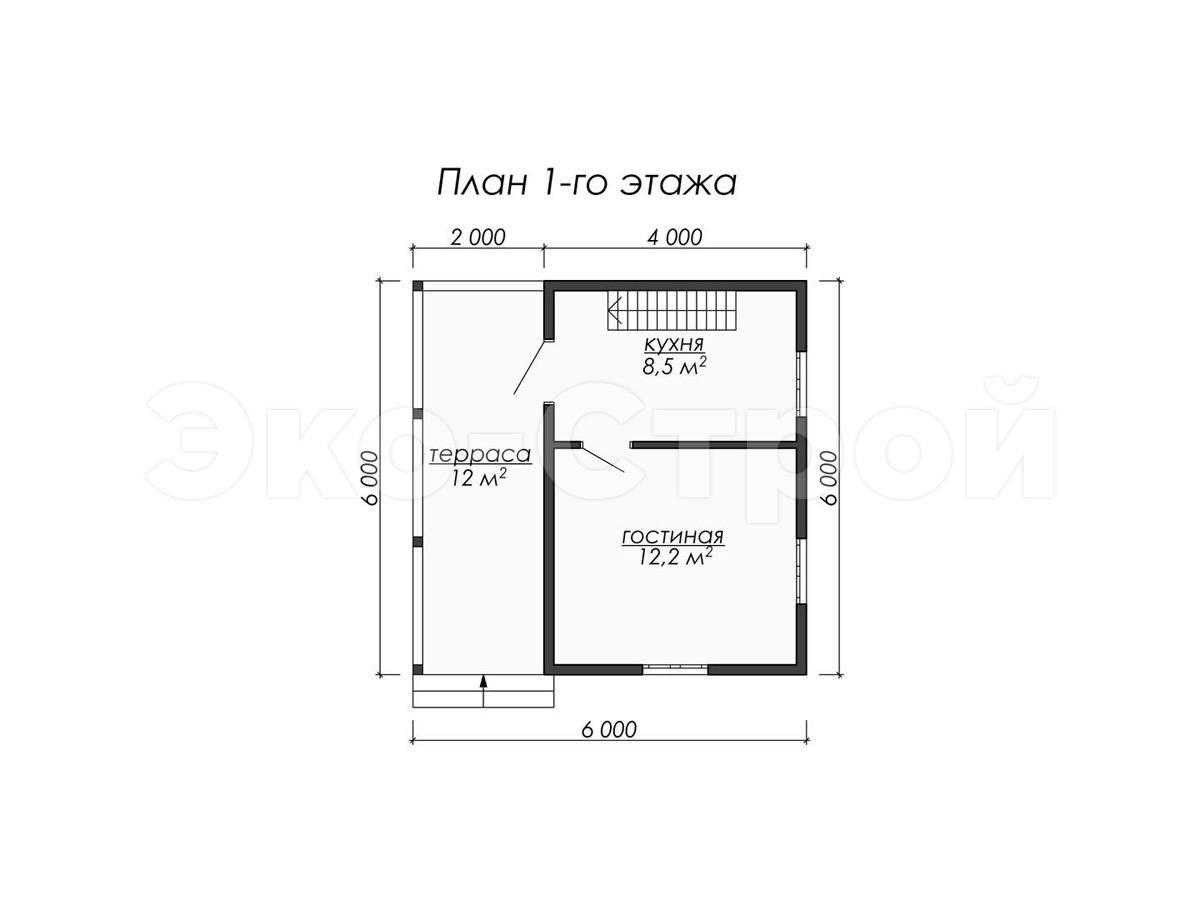 Дом из бруса ДУ 068 план 1 эт