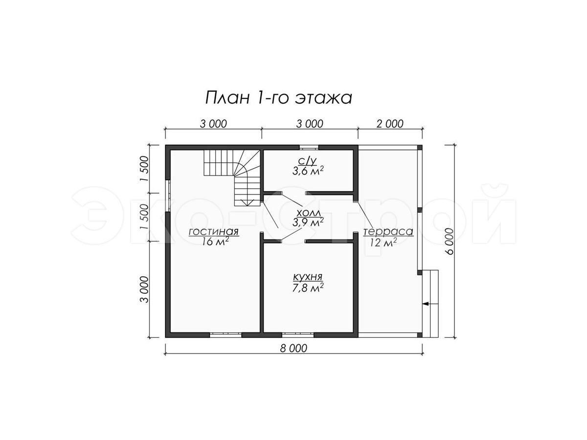 Дом из бруса ДУ 069 план 1 эт