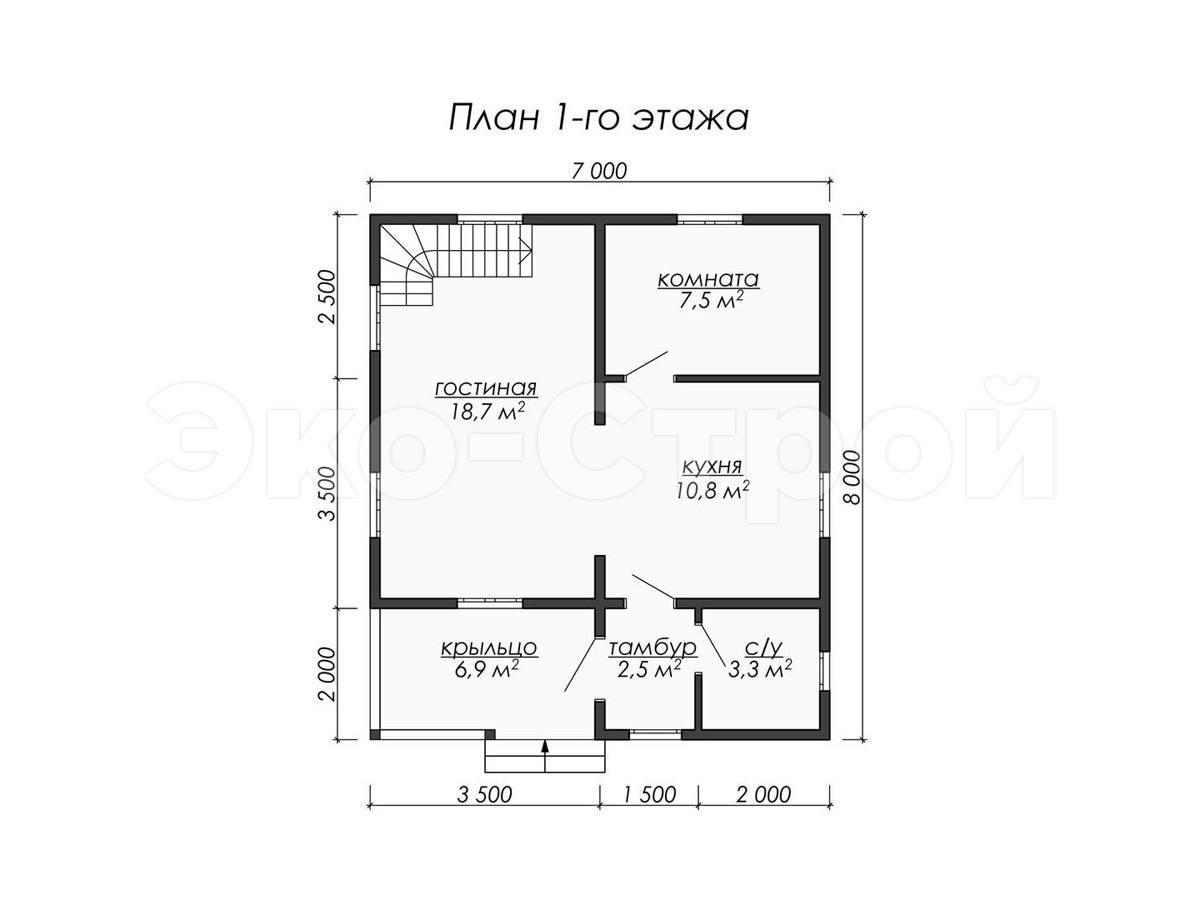 Дом из бруса ДУ 070 план 1 эт