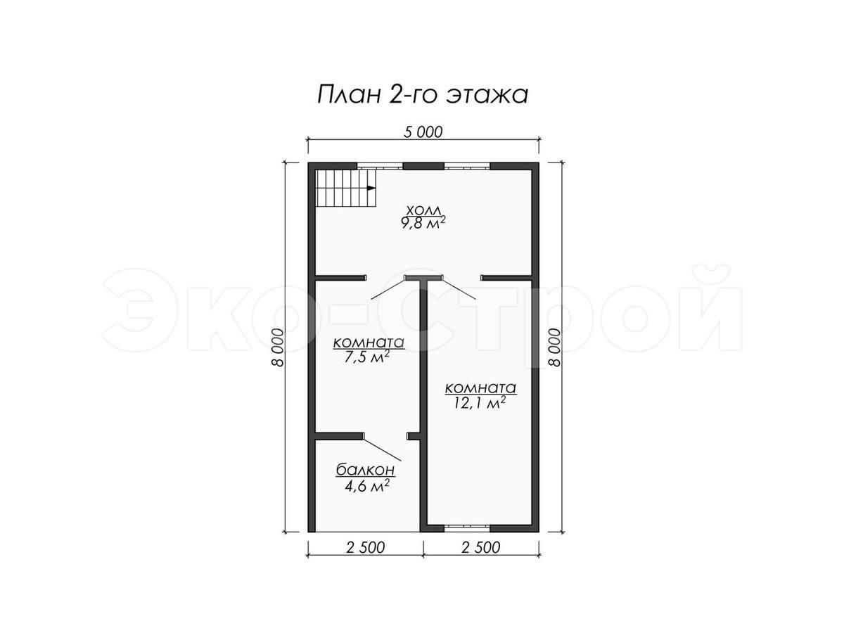 Дом из бруса ДУ 070 план 2 эт