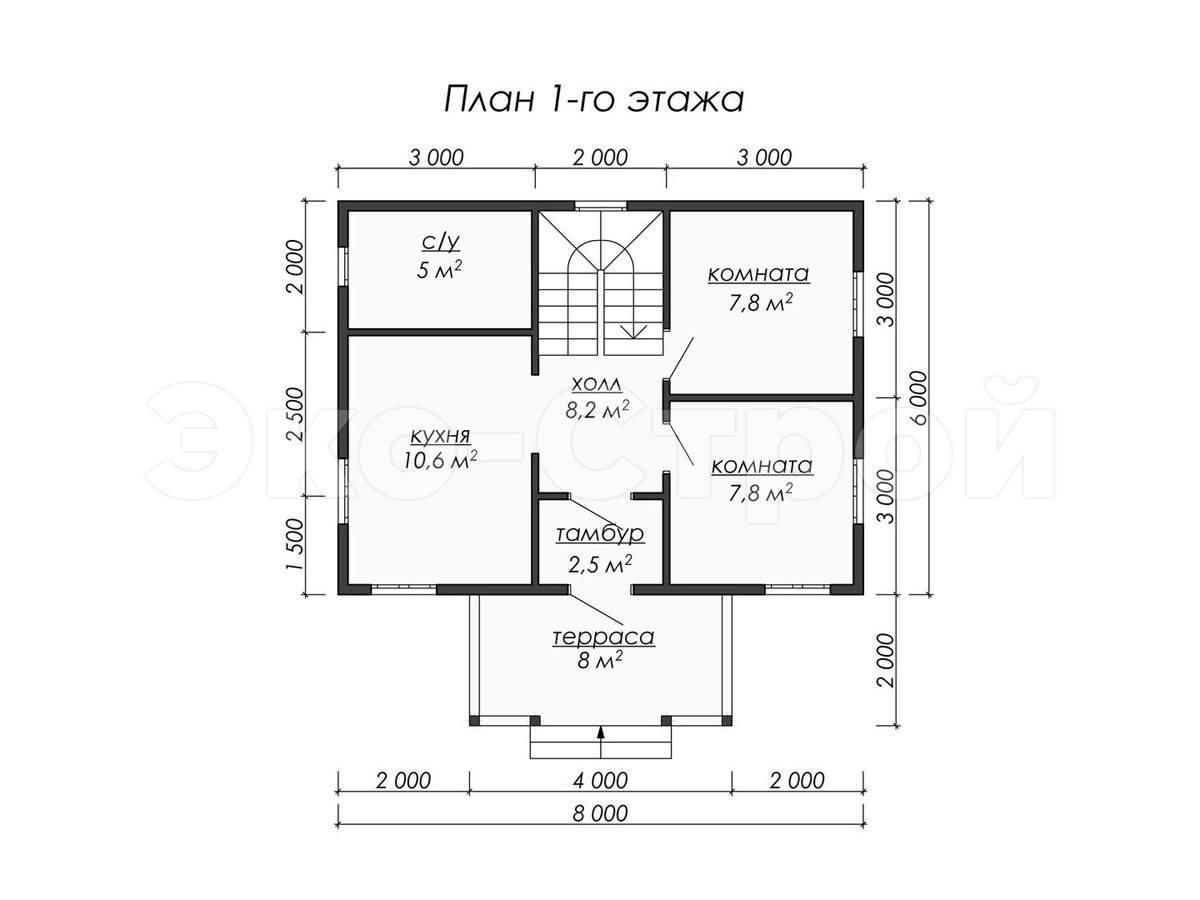 Дом из бруса ДУ 071 план 1 эт
