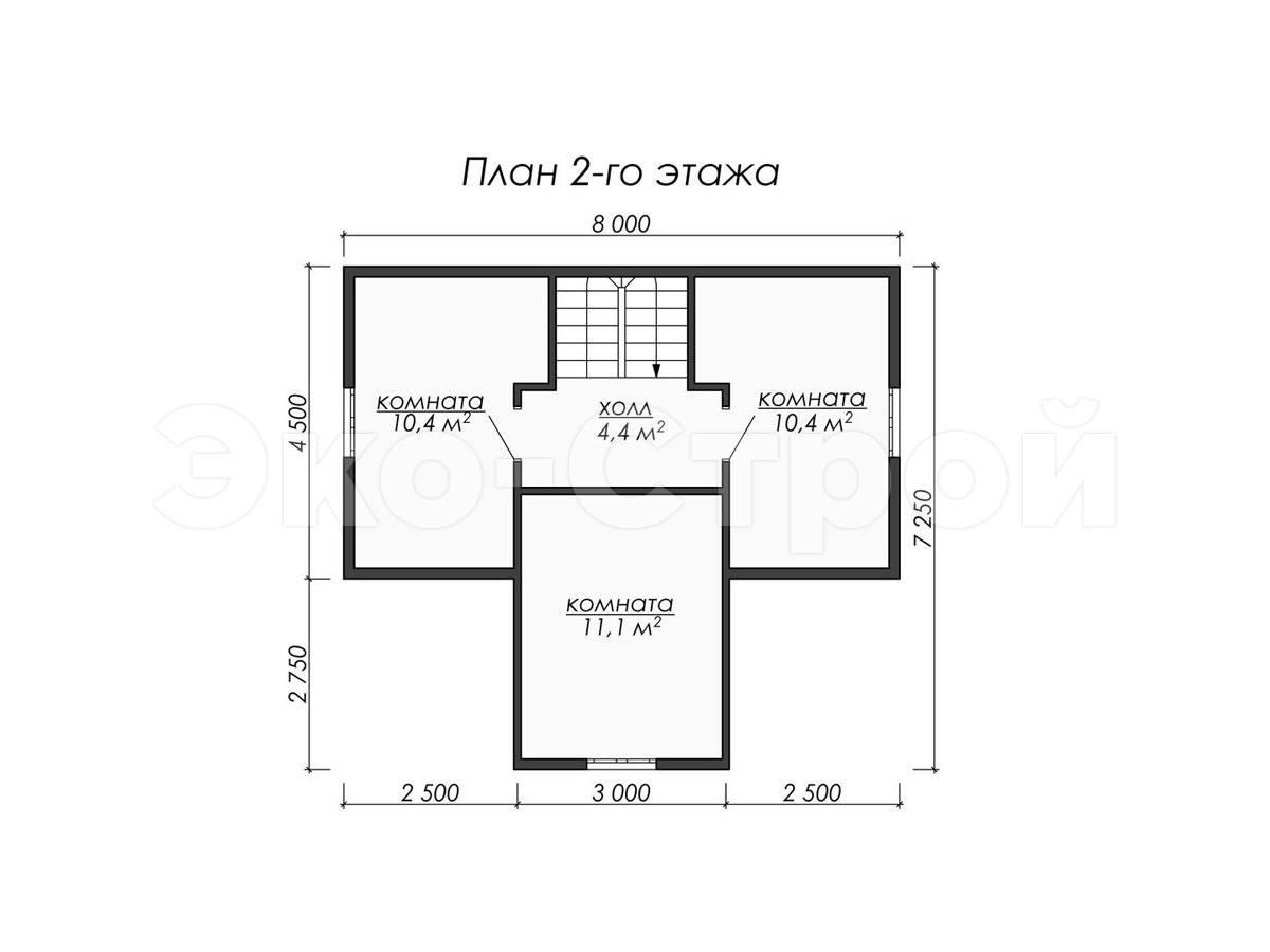 Дом из бруса ДУ 071 план 2 эт