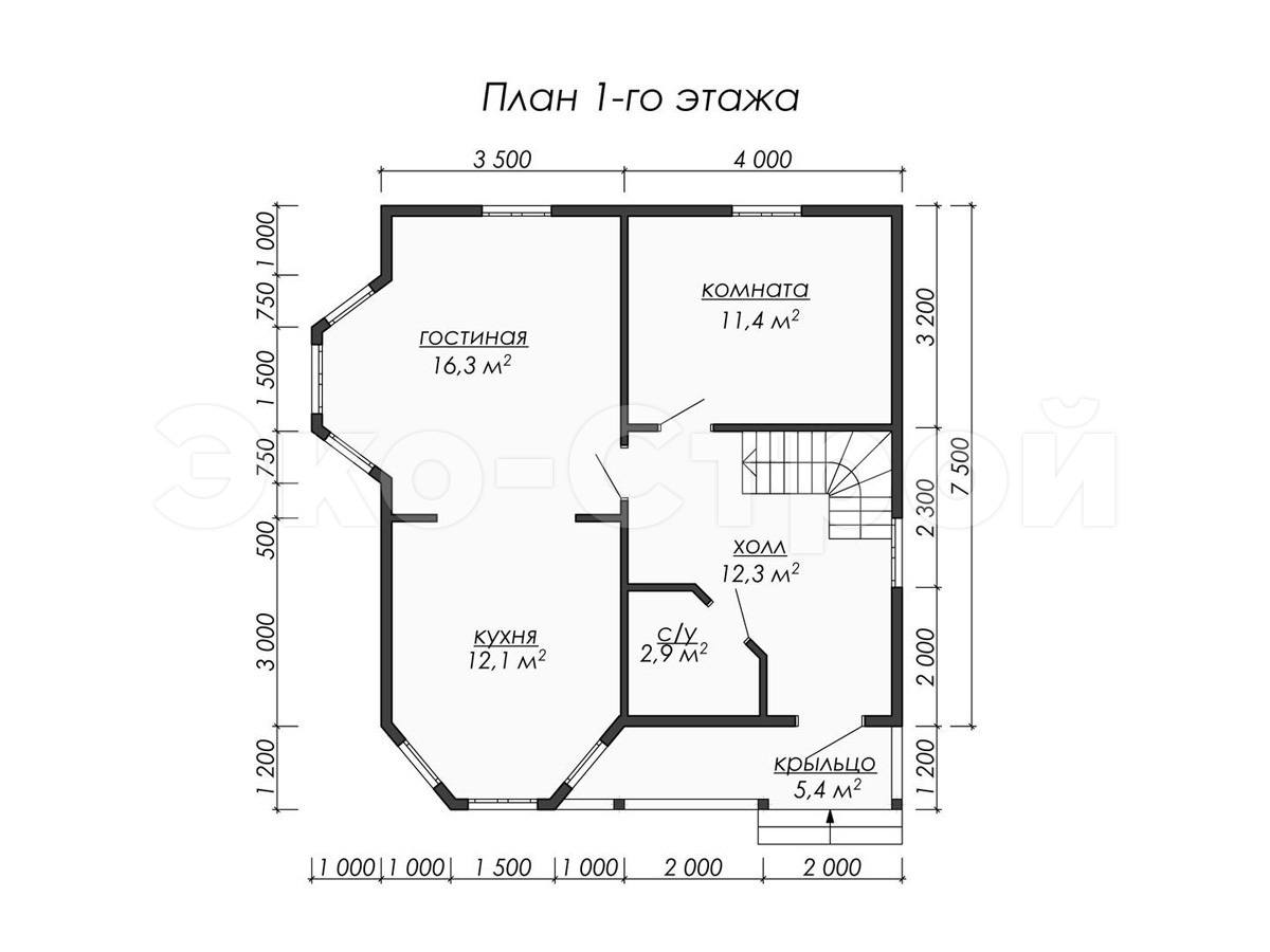 Дом из бруса ДУ 072 план 1 эт