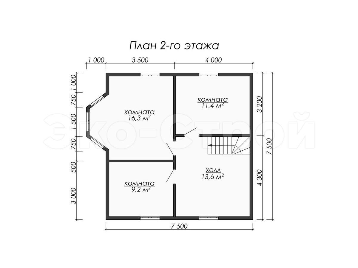 Дом из бруса ДУ 072 план 2 эт