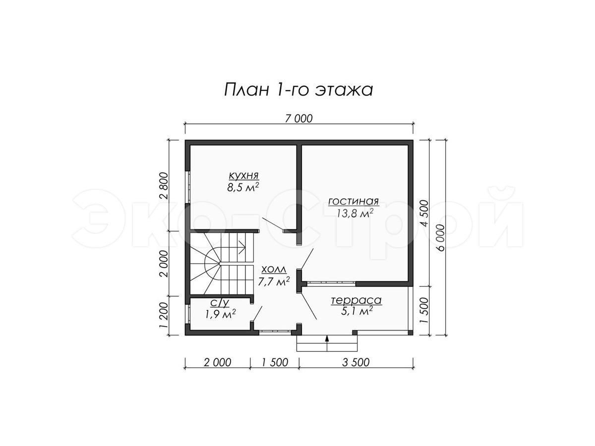 Дом из бруса ДУ 073 план 1 эт