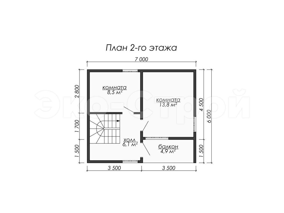 Дом из бруса ДУ 073 план 2 эт