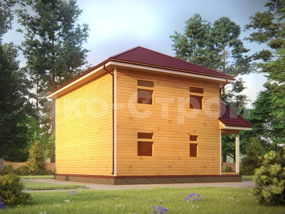 Дом из бруса ДУ 074 под усадку вид 2