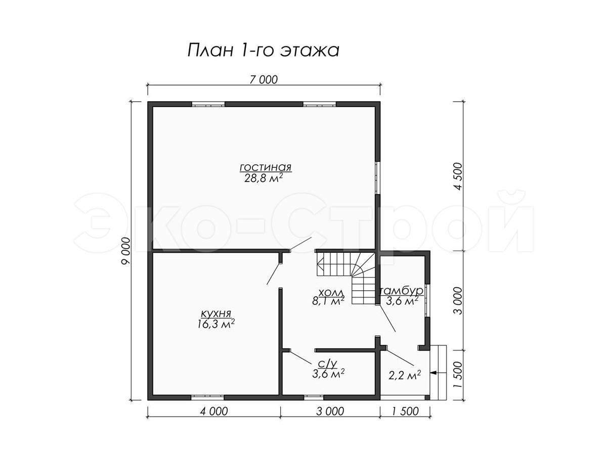 Дом из бруса ДУ 074 план 1 эт