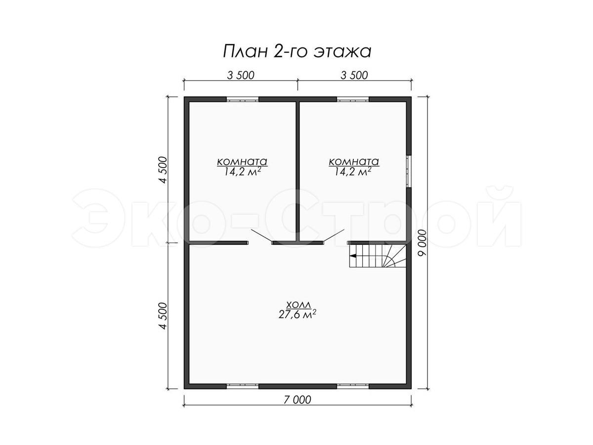 Дом из бруса ДУ 074 план 2 эт