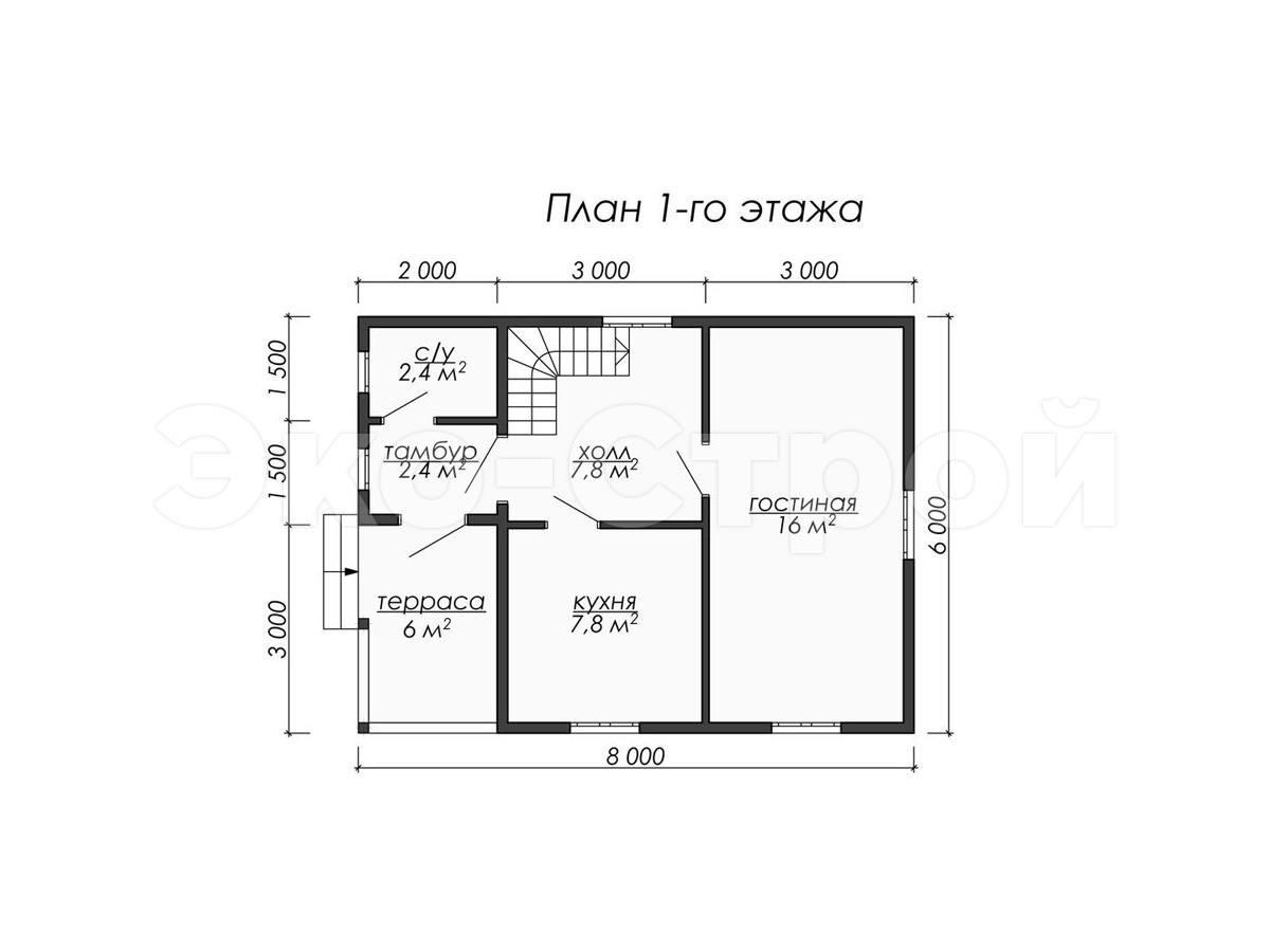 Дом из бруса ДУ 075 план 1эт