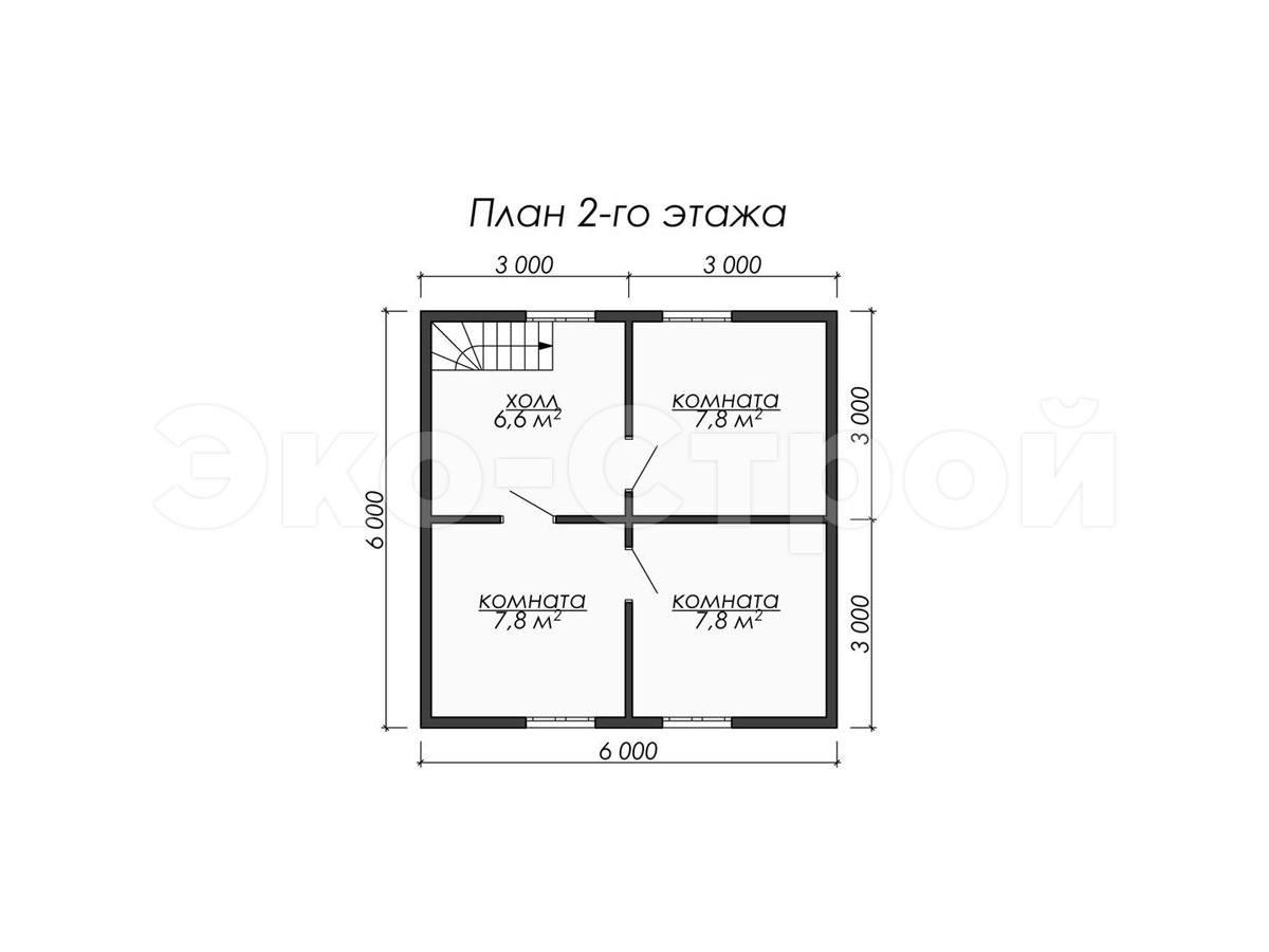 Дом из бруса ДУ 075 план 2эт
