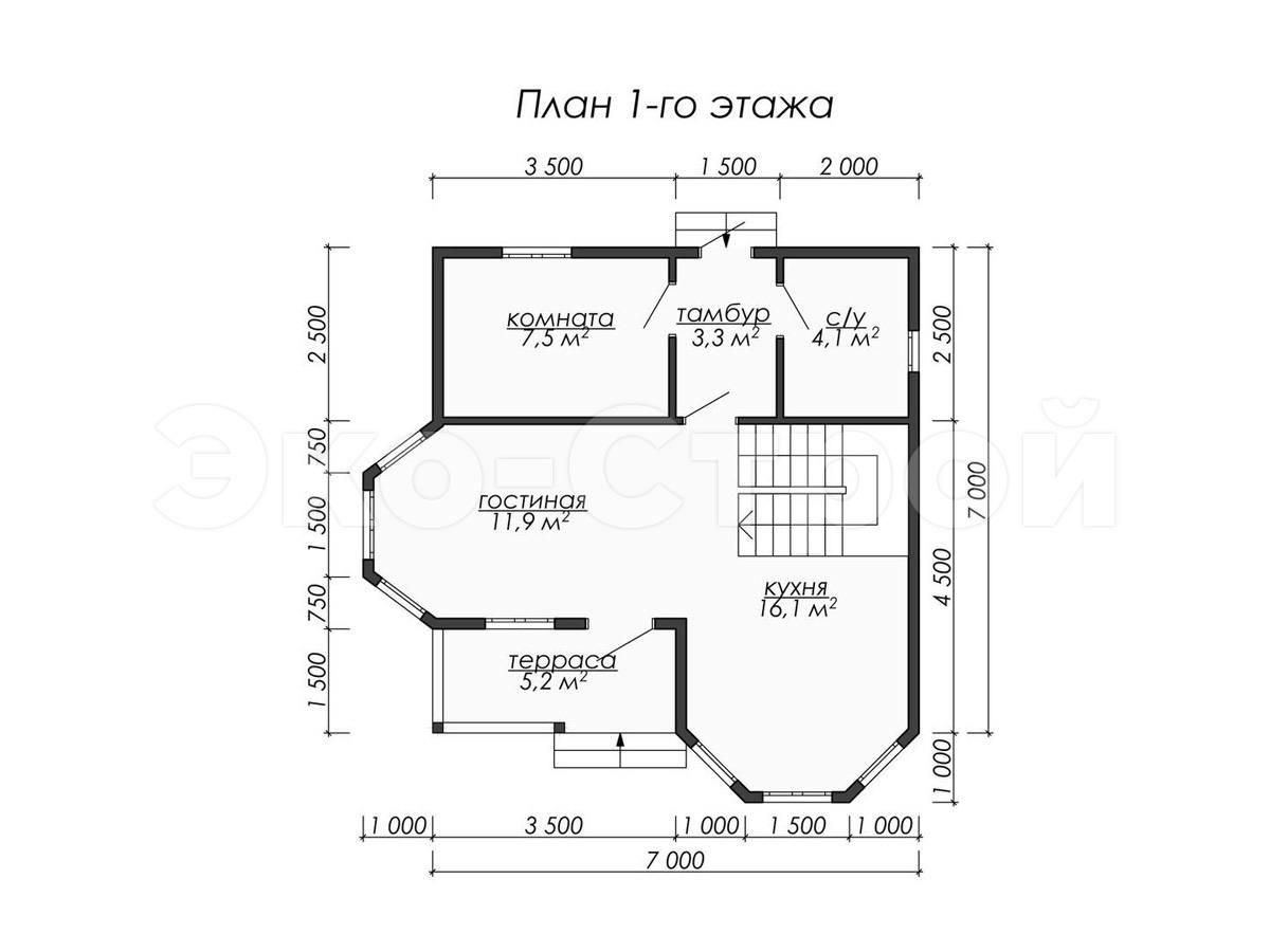 Дом из бруса ДУ 076 план 1 эт