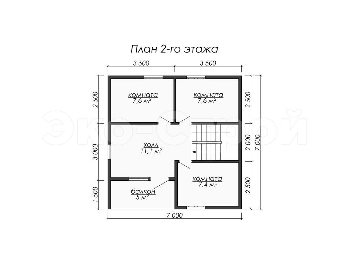 Дом из бруса ДУ 076 план 2 эт