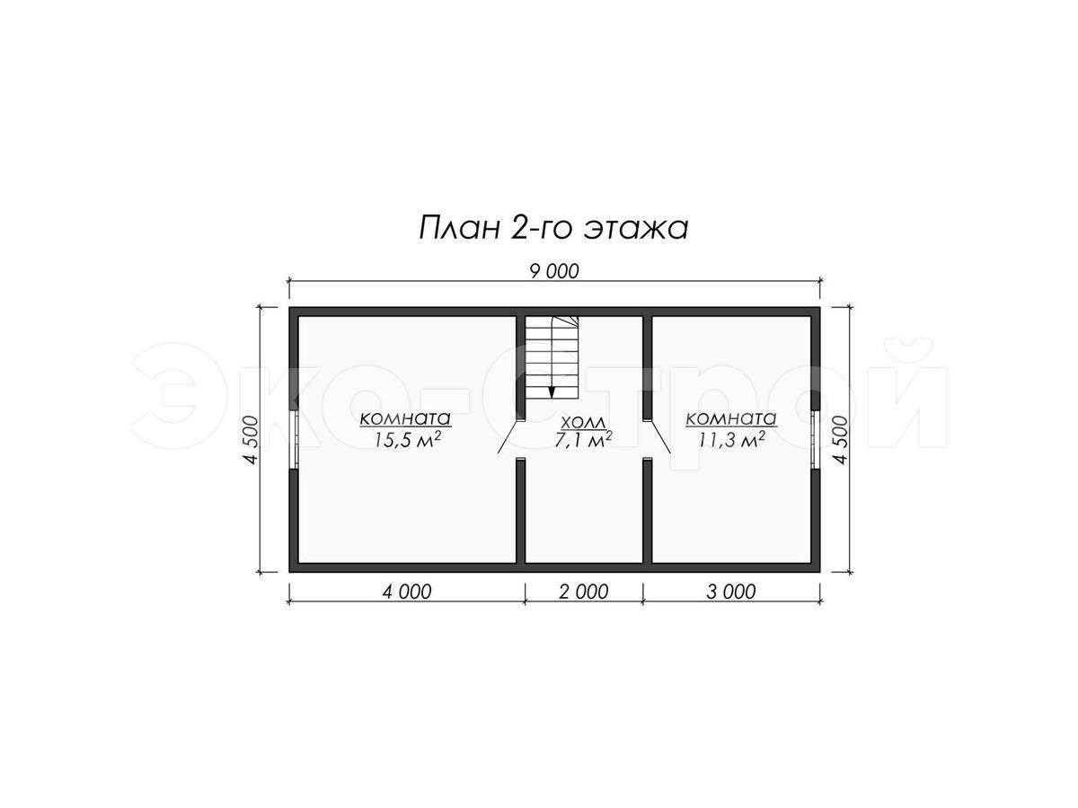 Дом из бруса ДУ 077 план 2 эт