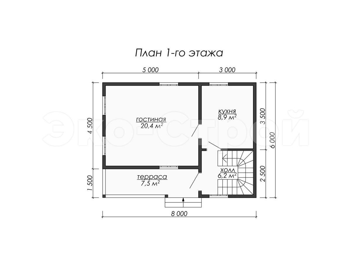 Дом из бруса ДУ 078 план 1 эт