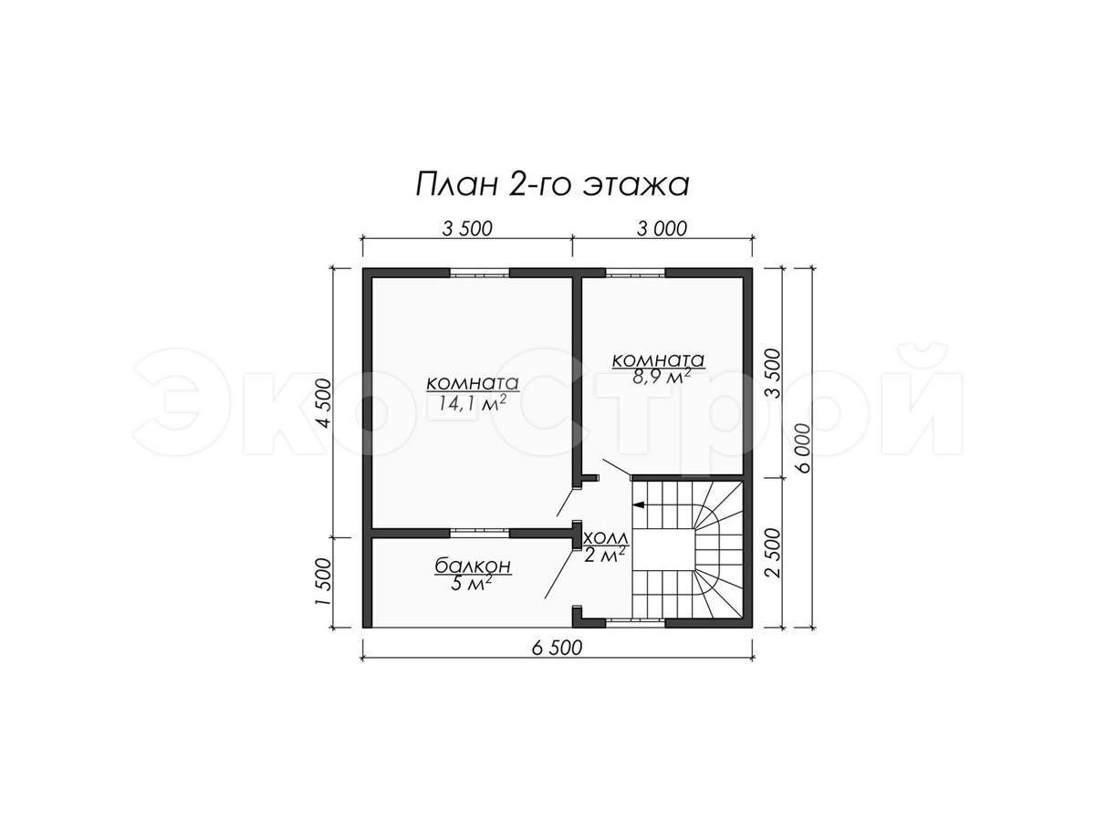 Дом из бруса ДУ 078 план 2 эт