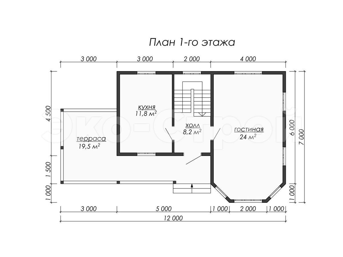 Дом из бруса ДУ 079 план 1 эт