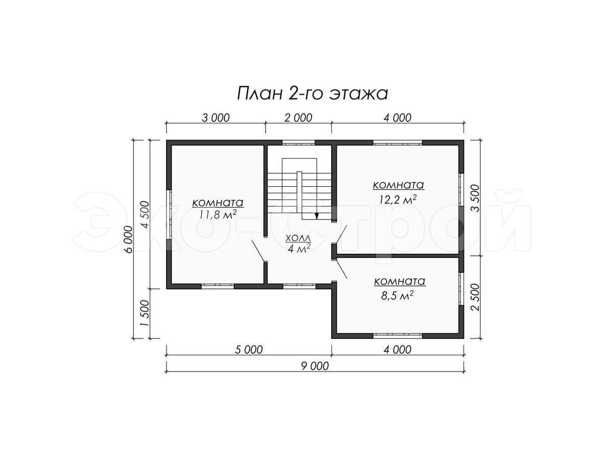 Дом из бруса ДУ 079 план 2 эт