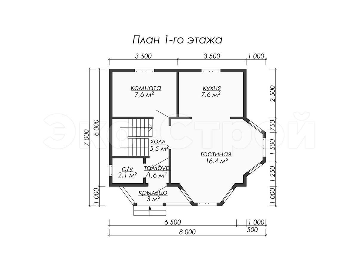 Дом из бруса ДУ 080 план 1 эт